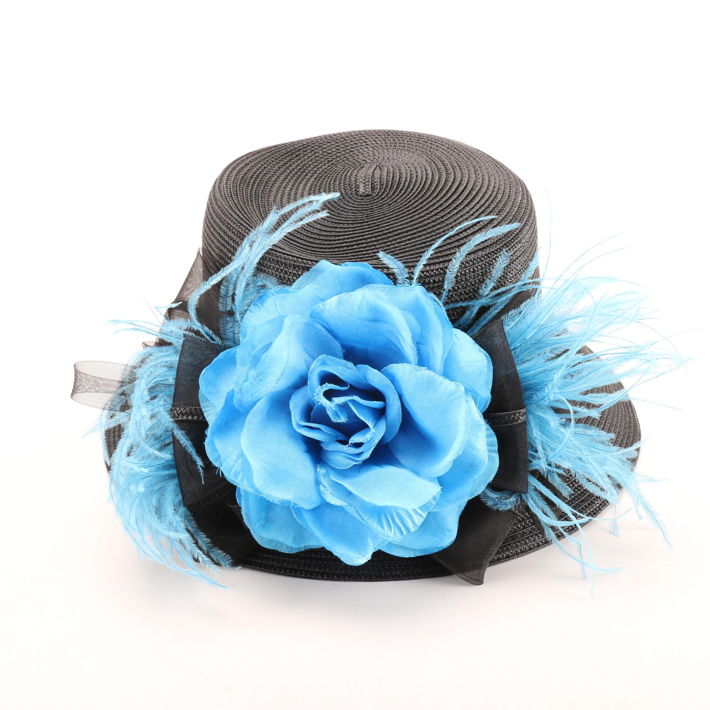 Dee's Black Hat with Blue Floral Accent