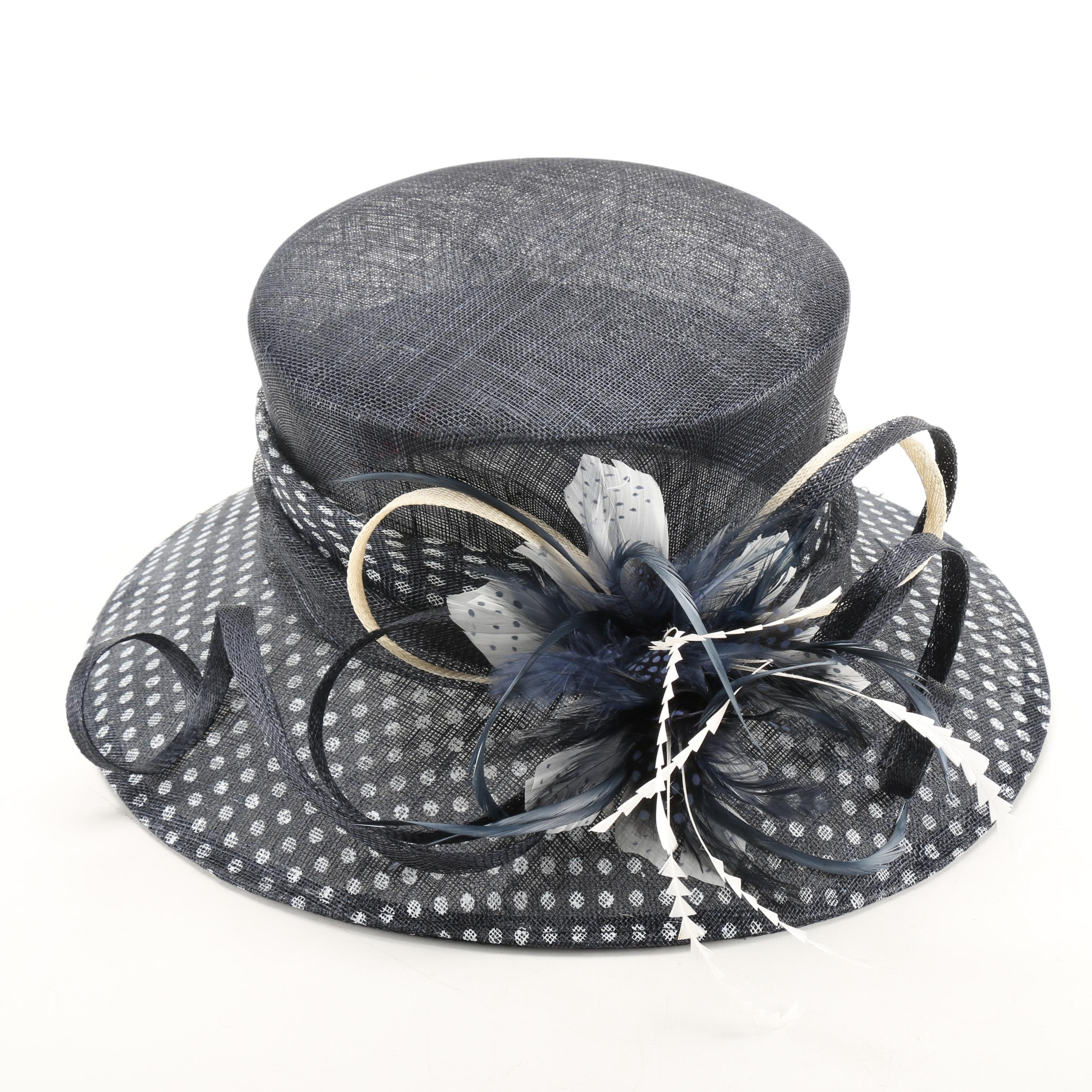 Dee's Black Woven Hat With White Polka Dots