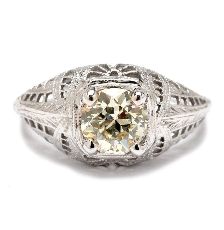 edwardian 18k white gold diamond engagement ring ebth