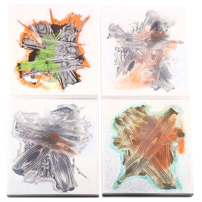 """Ricardo Morin Oil Painting on Linen Quadtych """"Teratological Topographies Series One"""""""