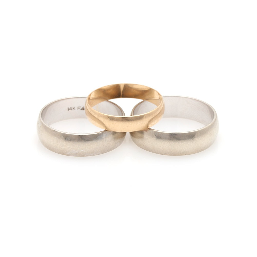 14K White and Yellow Gold Wedding Bands