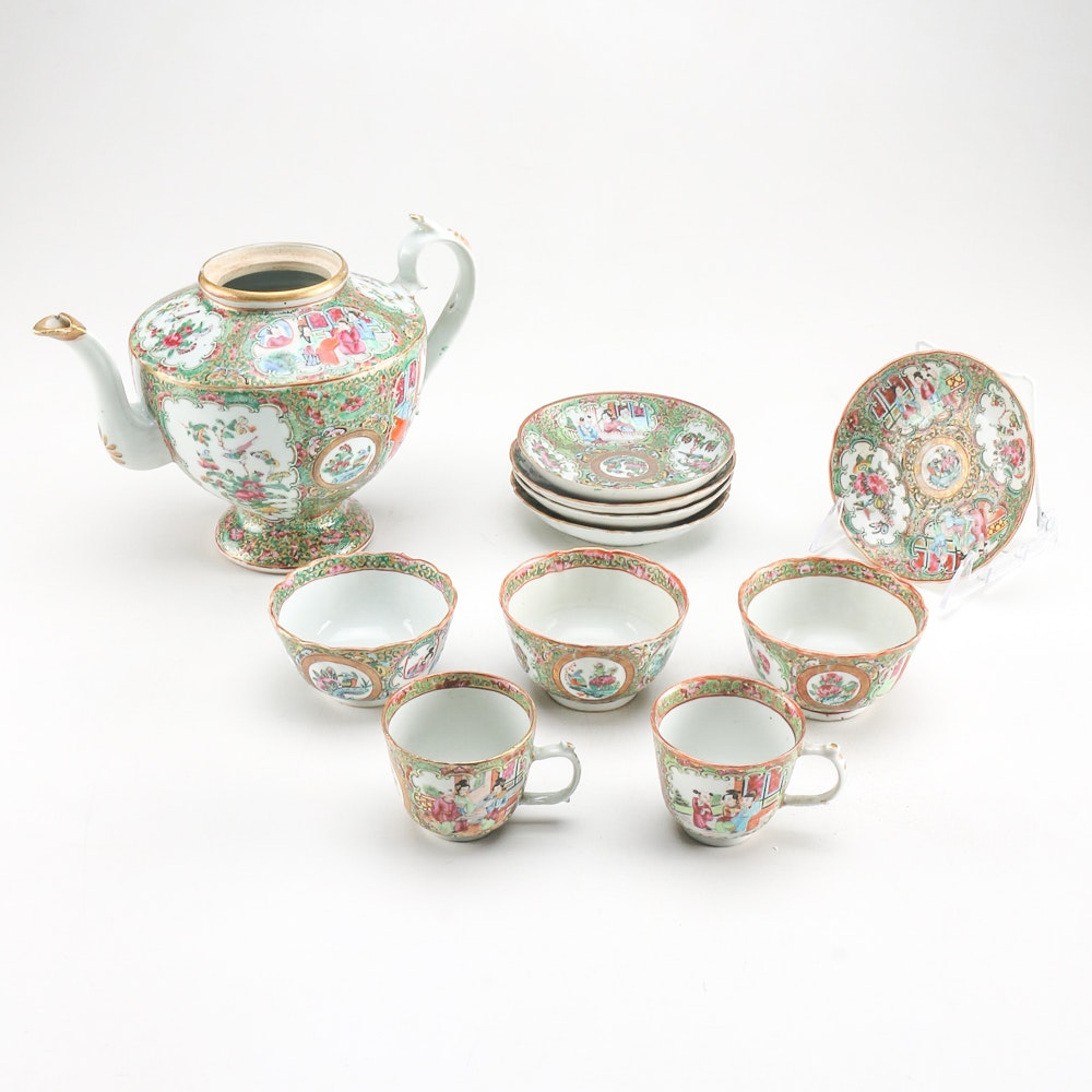 Antique Qing Dynasty Chinese Rose Medallion Tea Set