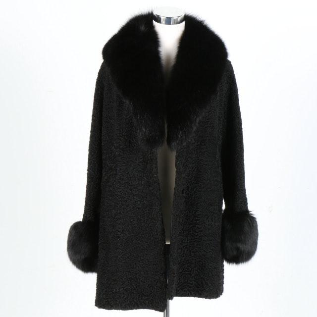 Women's Persian Lamb and Fox Fur Coat