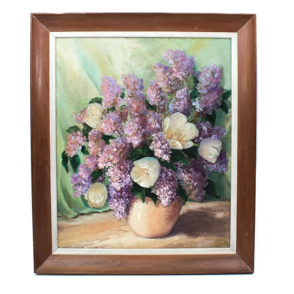 Original Signed Oil on Canvas Board Floral Still Life