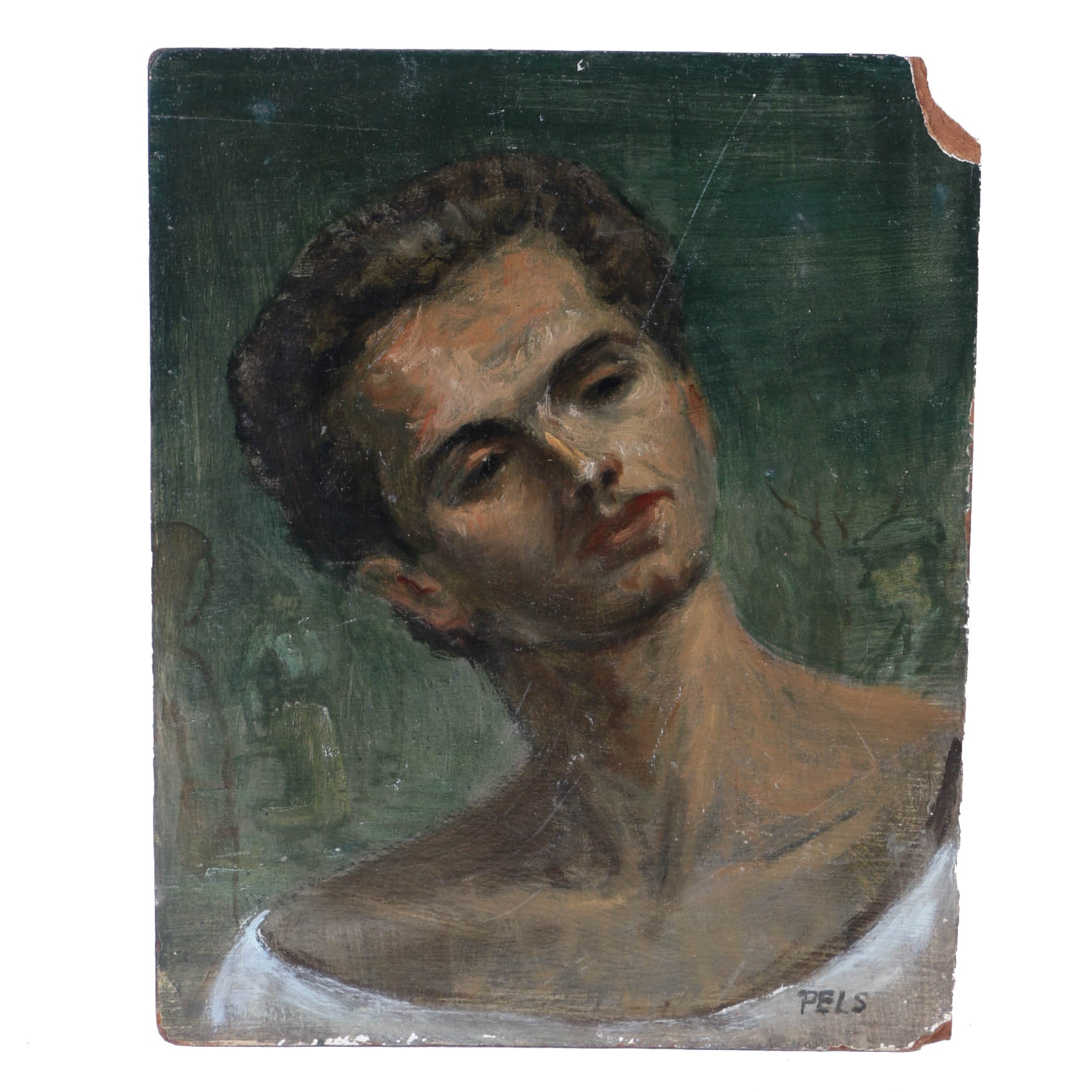 "Albert Pels Oil Painting on Masonite Board ""Portrait of a Young Man"""