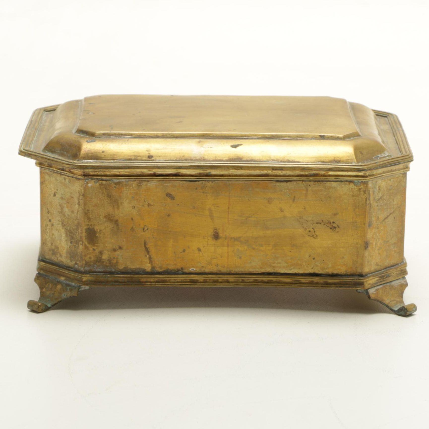 Footed Brass Tea Caddy