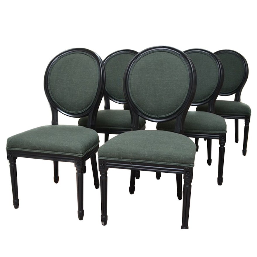 4923d32c7bf72 World Market Green Linen Round Back Dining Chairs   EBTH