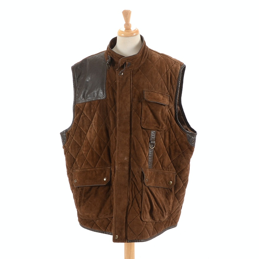 e775b5a211 Men's Daniel Cremieux Quilted Brown Goat Suede Leather Vest | EBTH