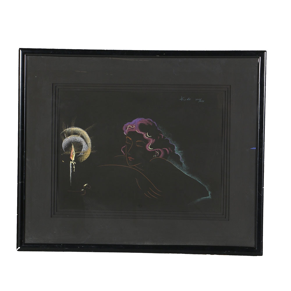 Kudo Limited Edition Serigraph on Black Paper