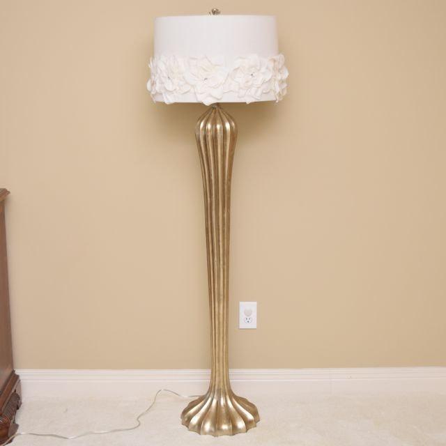 Gold-Tone Art Deco Style Floor Lamp