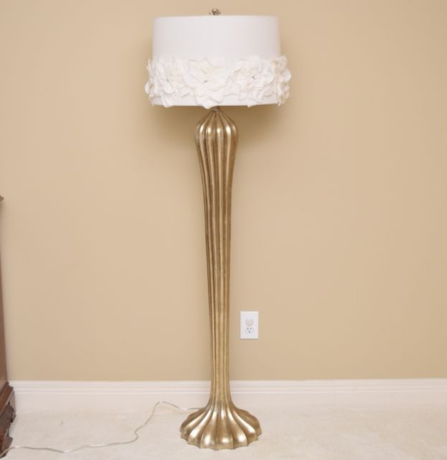 Gold tone art deco style floor lamp ebth for Silver tone floor lamp