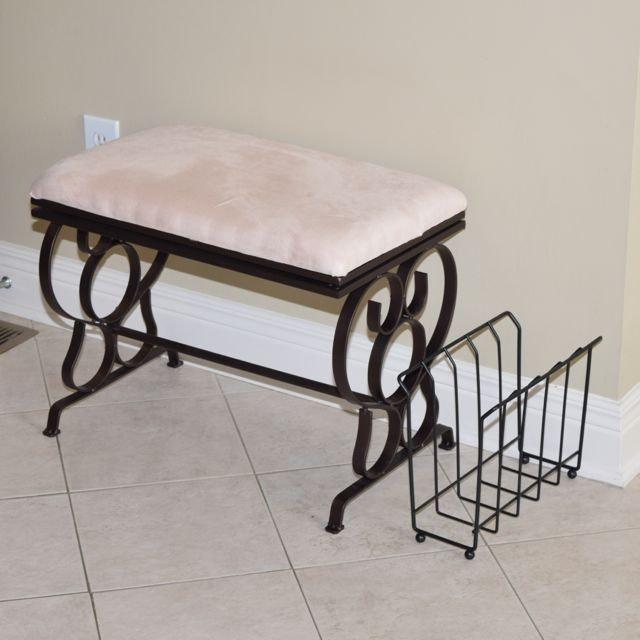 Upholstered Metalwork Vanity Seat and Magazine Holder