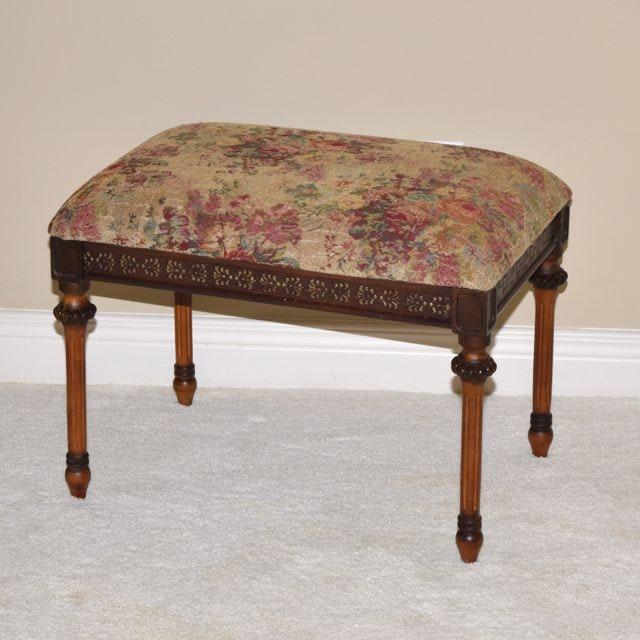 Vintage Upholstered Needlepoint Vanity Bench