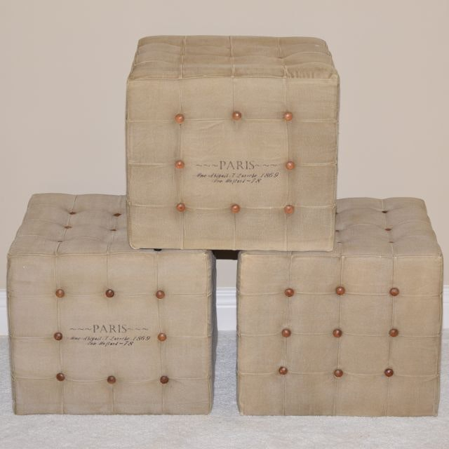 Burlap Upholstered French Country Style Cubes