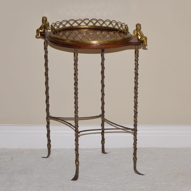 La Barge Walnut and Brass Serving Tray Side Table with Cupids