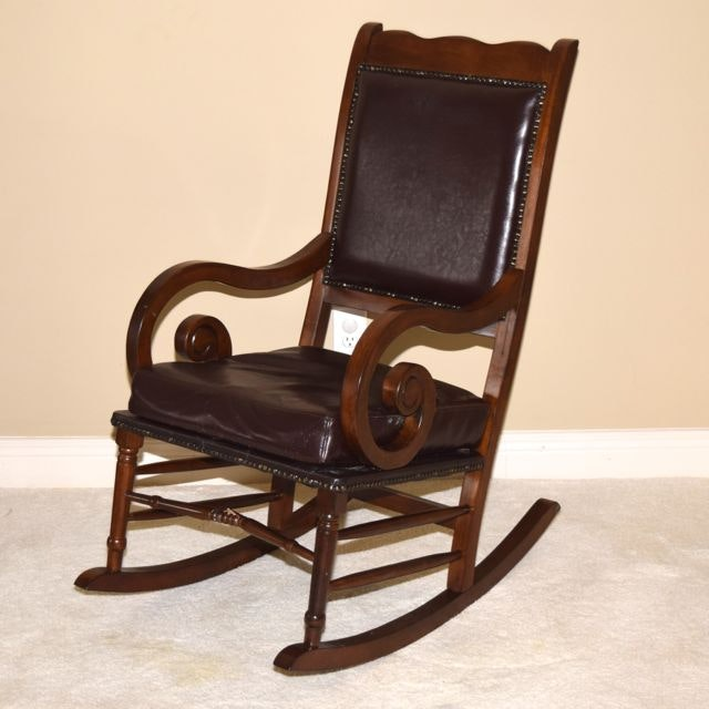Vintage Walnut and Leather Rocking Chair