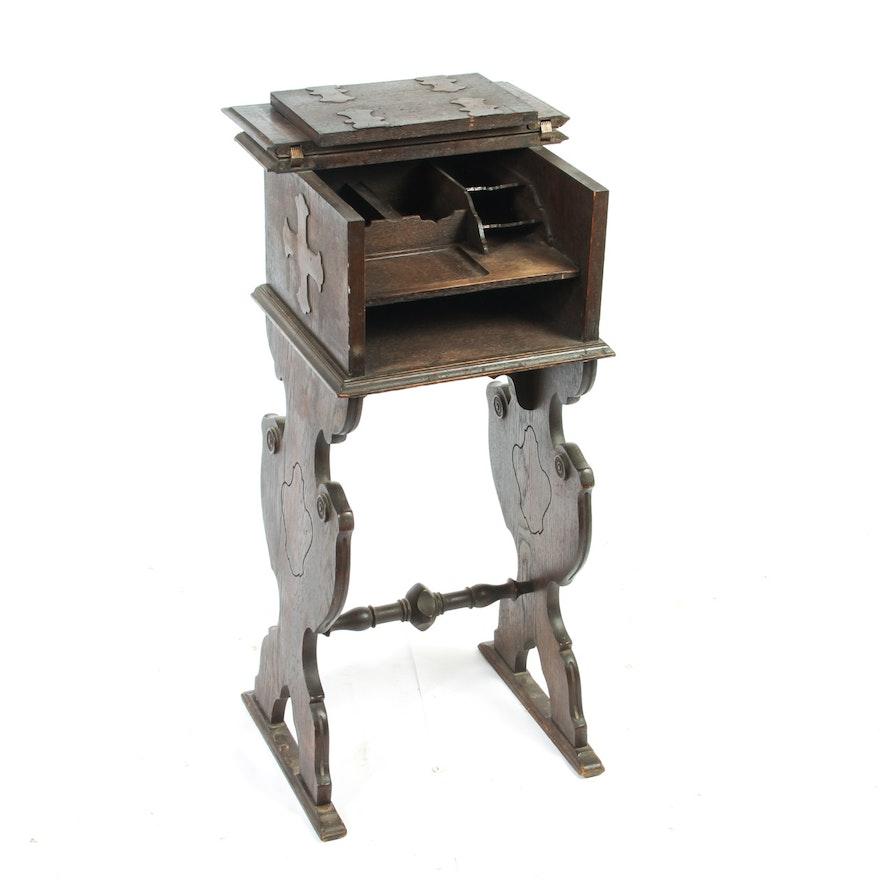 - Antique Oak Wooden Letter Secretary Desk, Tudor Revival : EBTH