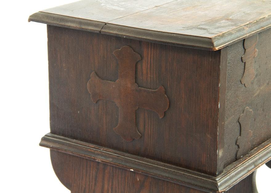 Antique Oak Wooden Letter Secretary Desk Tudor Revival Ebth