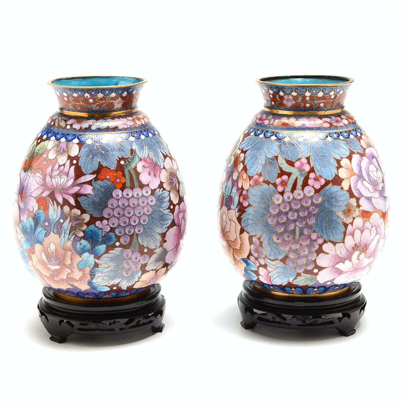 Pair of Chinese Cloissene Ginger Jar Vases
