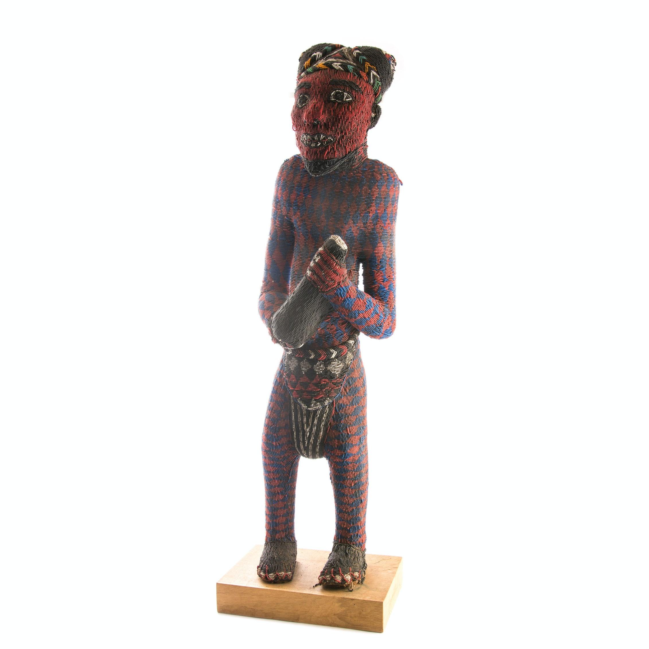 Bamileke Beaded African Standing Sculpture
