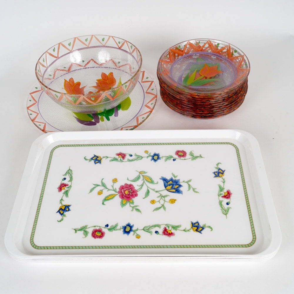 Villeroy & Boch Serving Trays and Hand Painted Salad Bowl Set with Platter