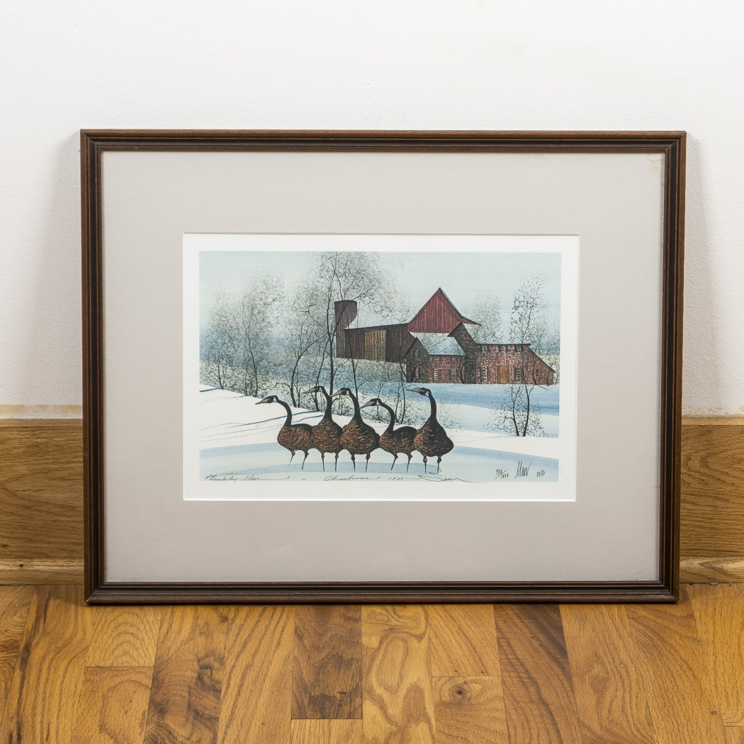 "P. Buckley Moss Offset Lithograph ""Christmas 1985"""