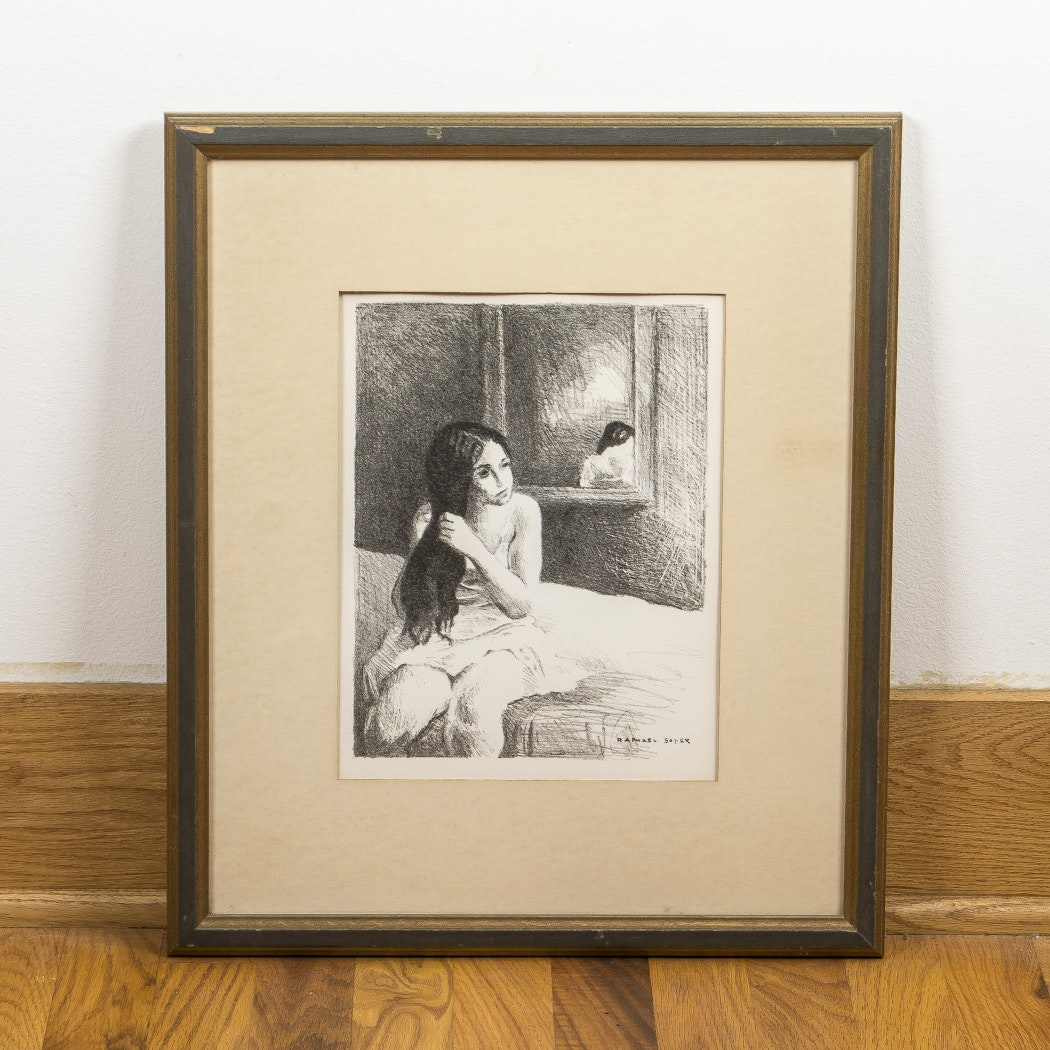 "Raphael Soyer Lithograph ""Girl On Bed"""