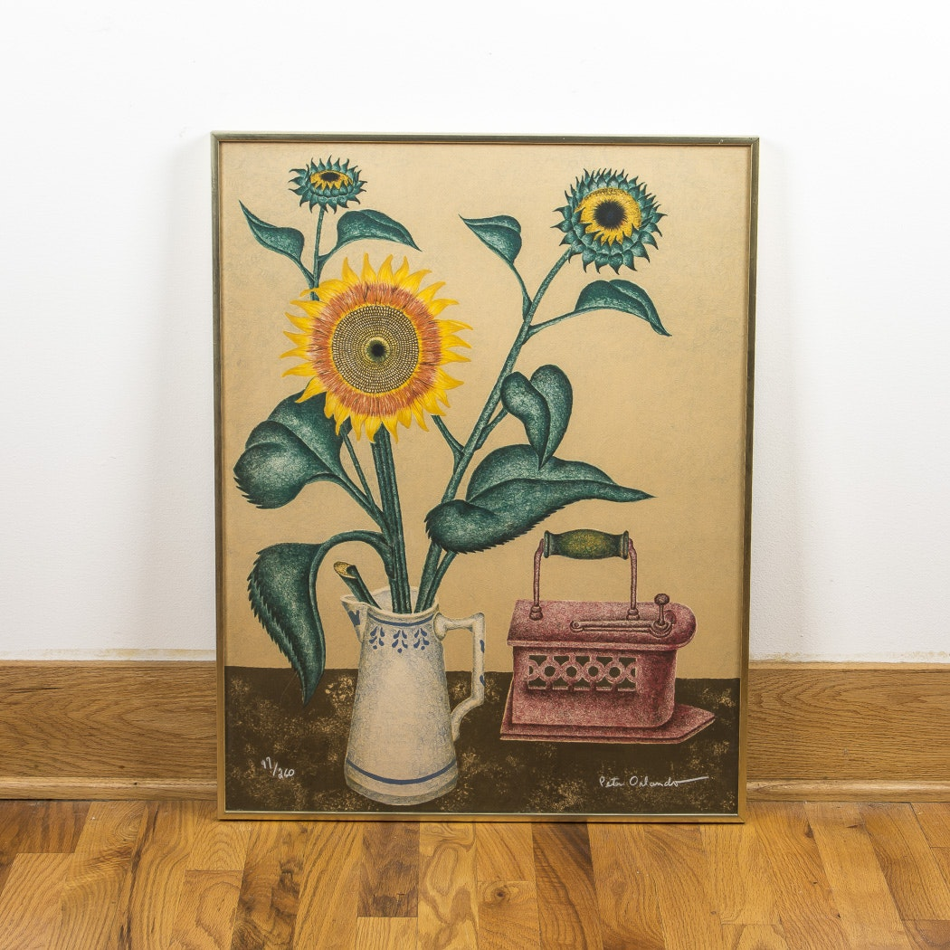 "After Peter Orlando Offset Lithograph ""Sunflowers"""