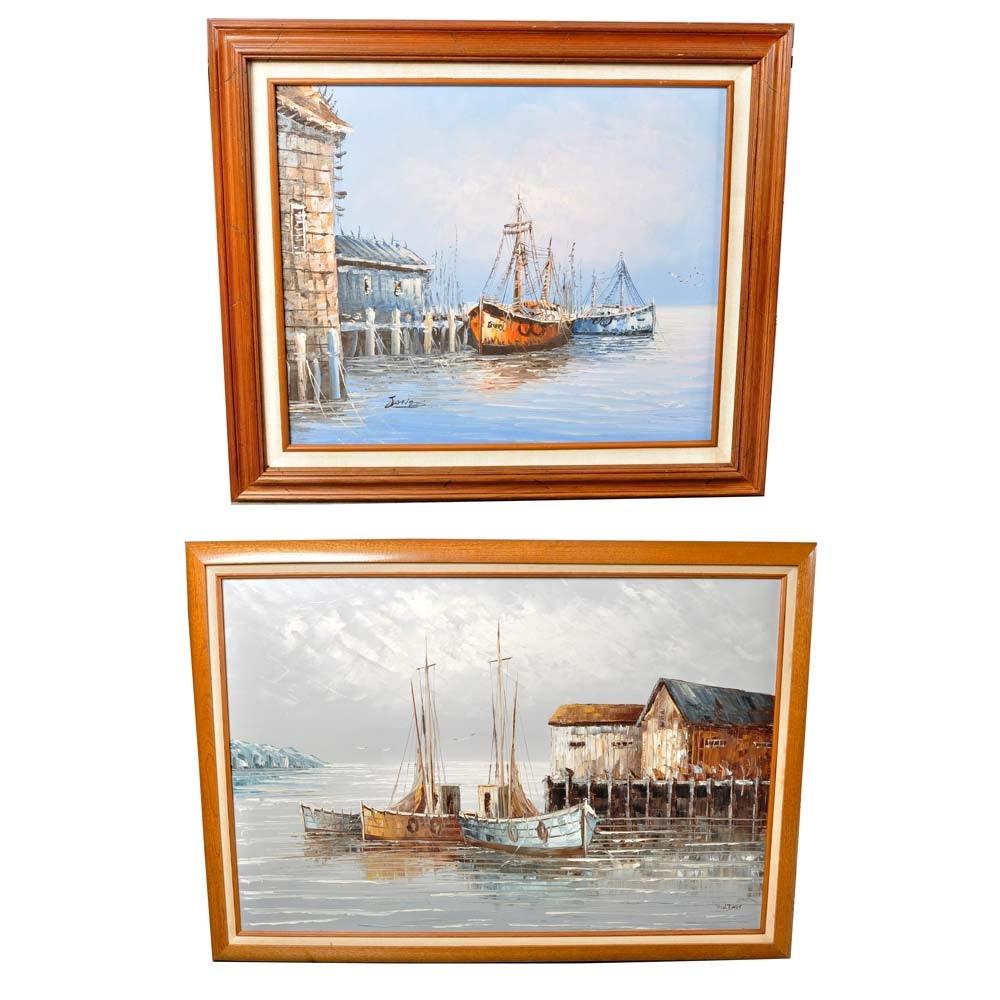 W. Jones Vintage Oil Paintings on Canvas
