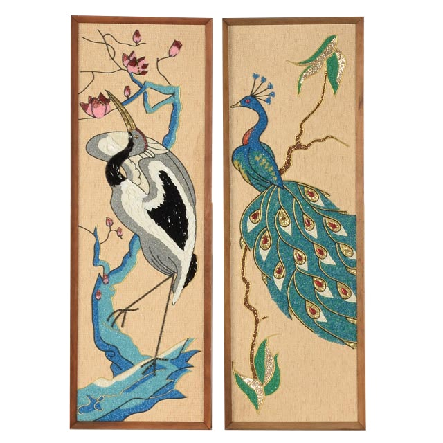 Pair of Ornately Beaded Asian Inspired Panels