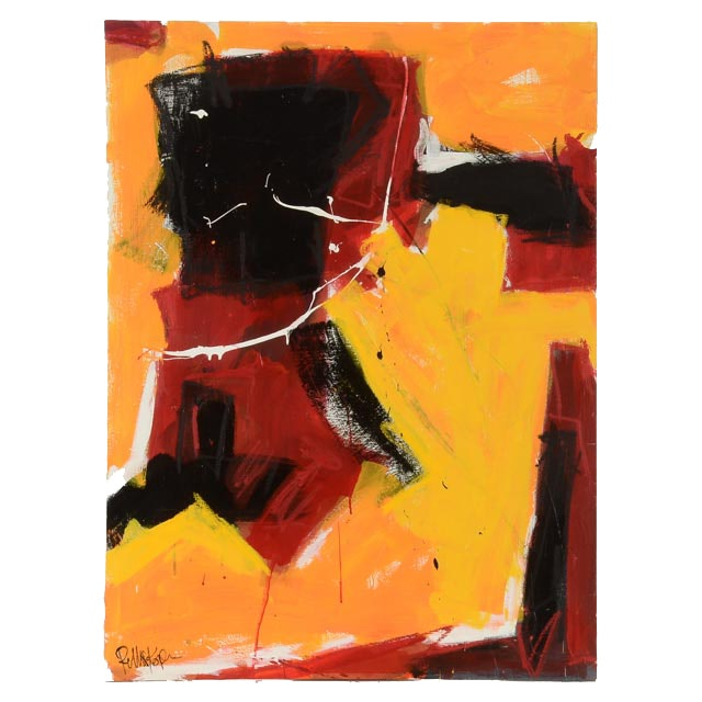 "Robbie Kemper Abstract Acrylic Painting on Canvas ""Yellow Red Black"""