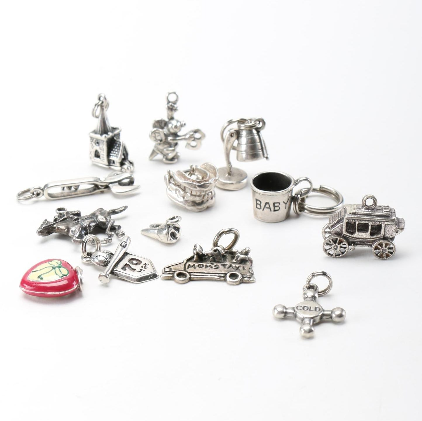 Selection of Charms Including Sterling Silver Pieces