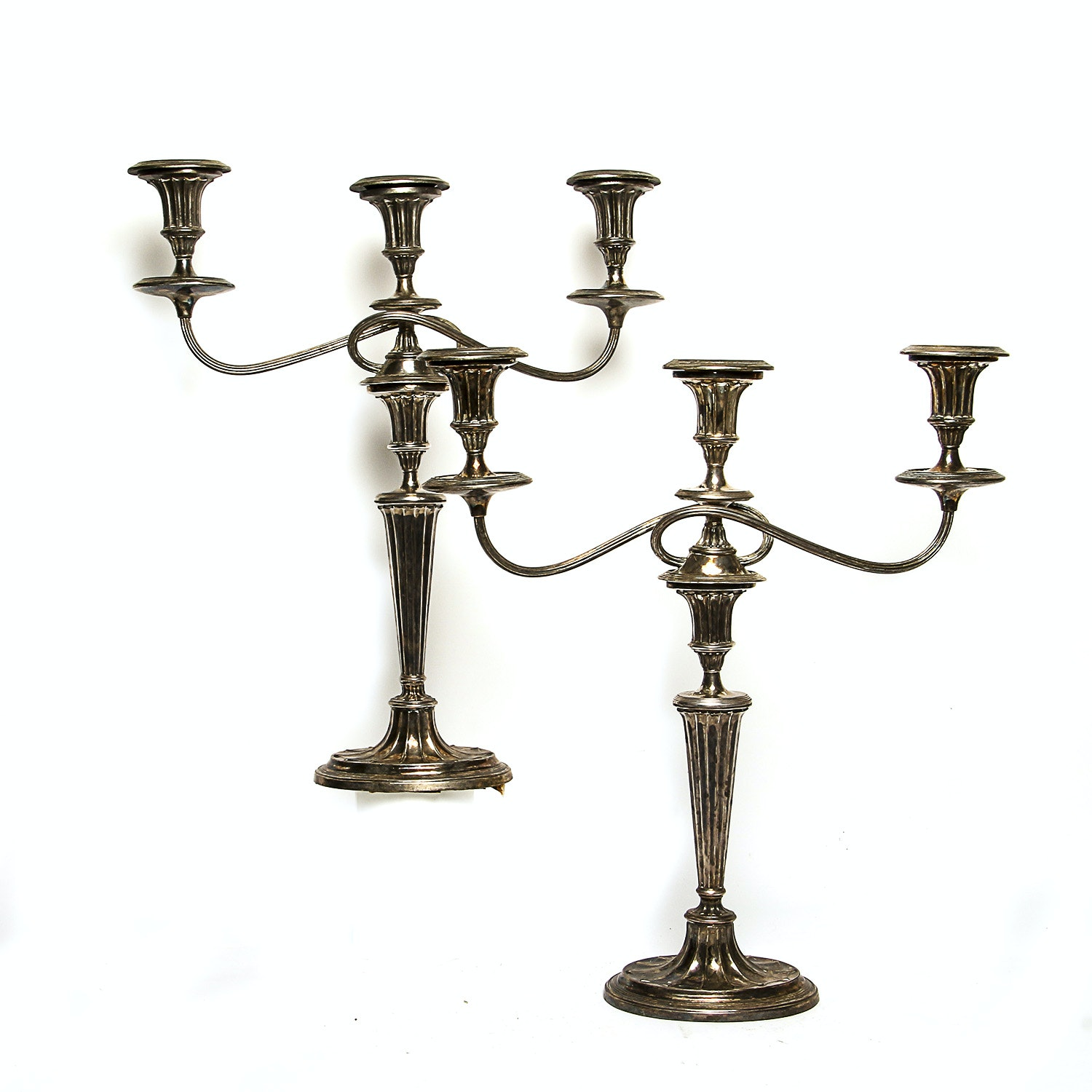 Two Vintage Silver Plated Candelabra