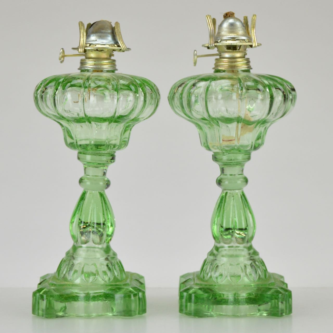 Vintage Apple Green Glass Oil Lamps
