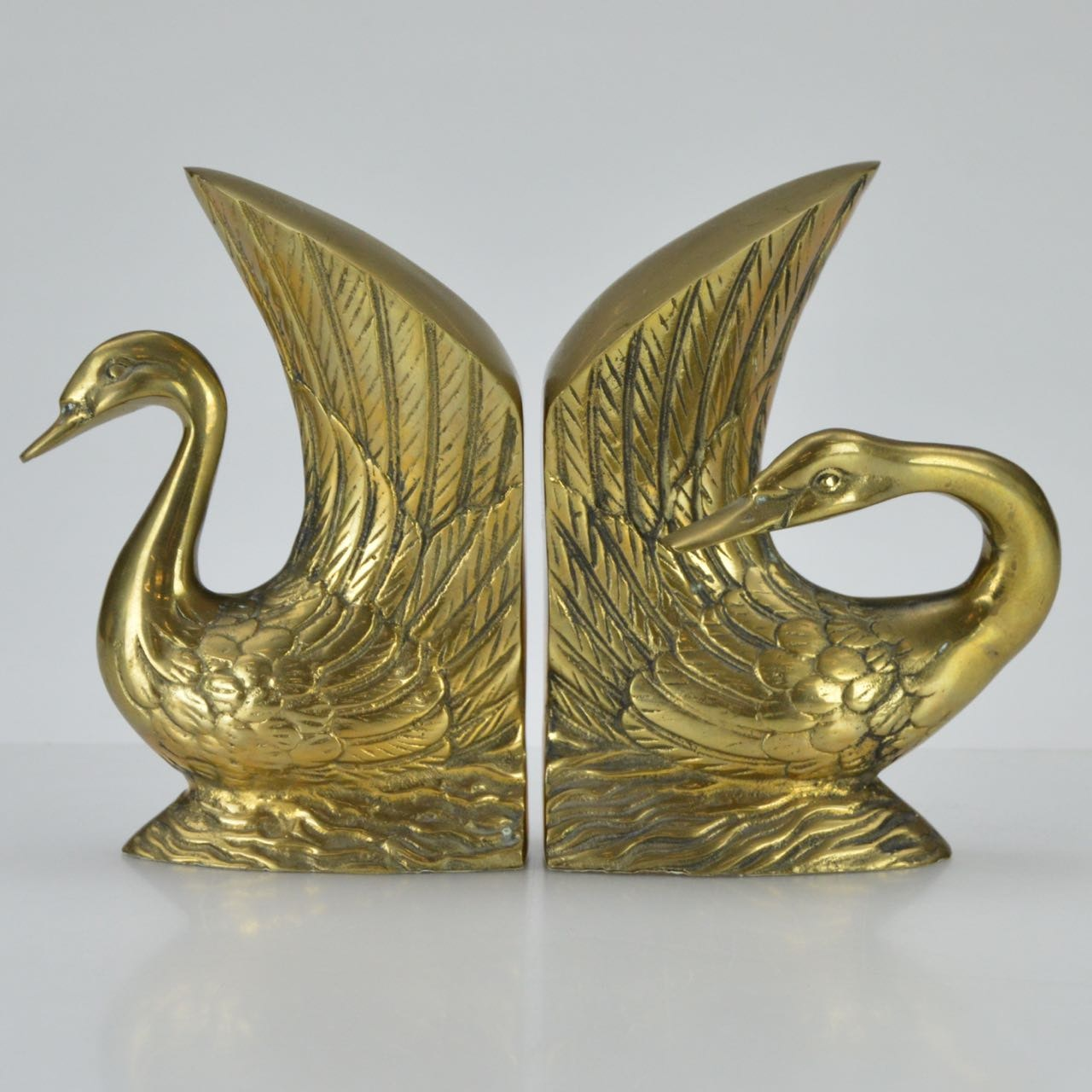 Weighted Brass Swan Bookends