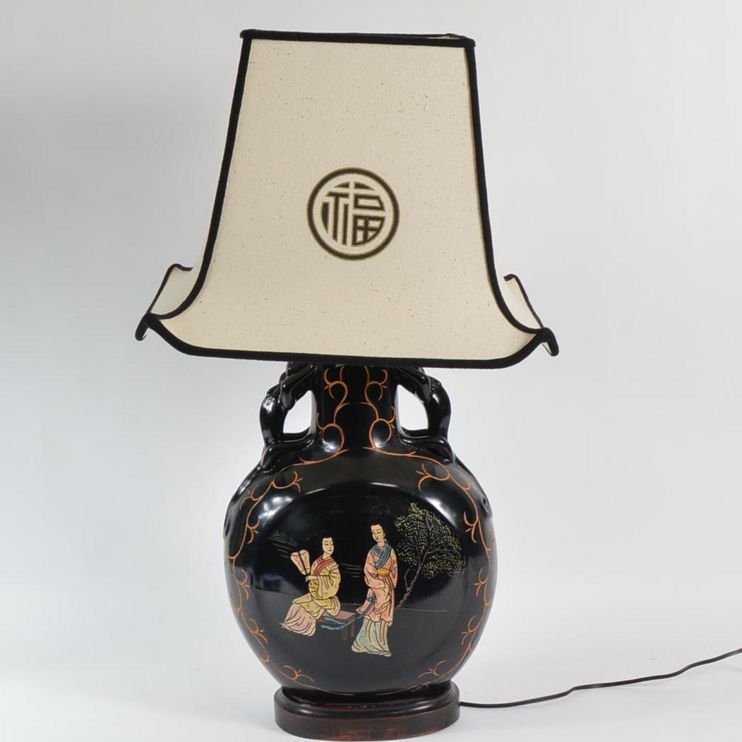 Chinese Inspired Table Lamp with Wood Base