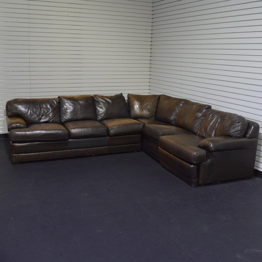 Craftwork Guild Brown Leather Sectional Sleeper Sofa