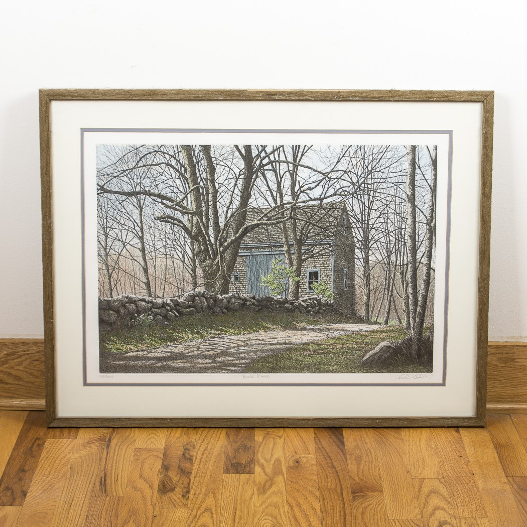 "Carol Collette Aquatint Etching on Paper ""Back Road"""