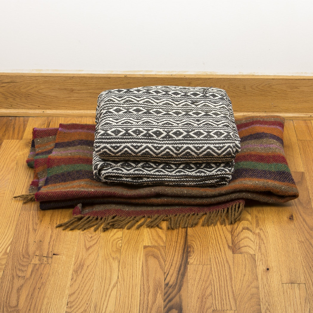 Pair of Handwoven Wool and Cotton Blankets