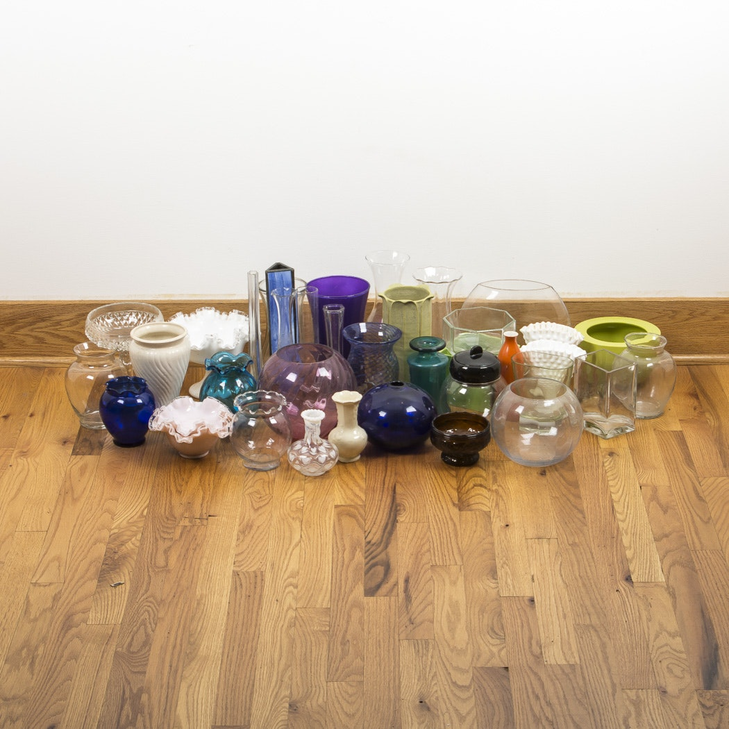 Large Assortment of Glass and Ceramic Vases and Bowls