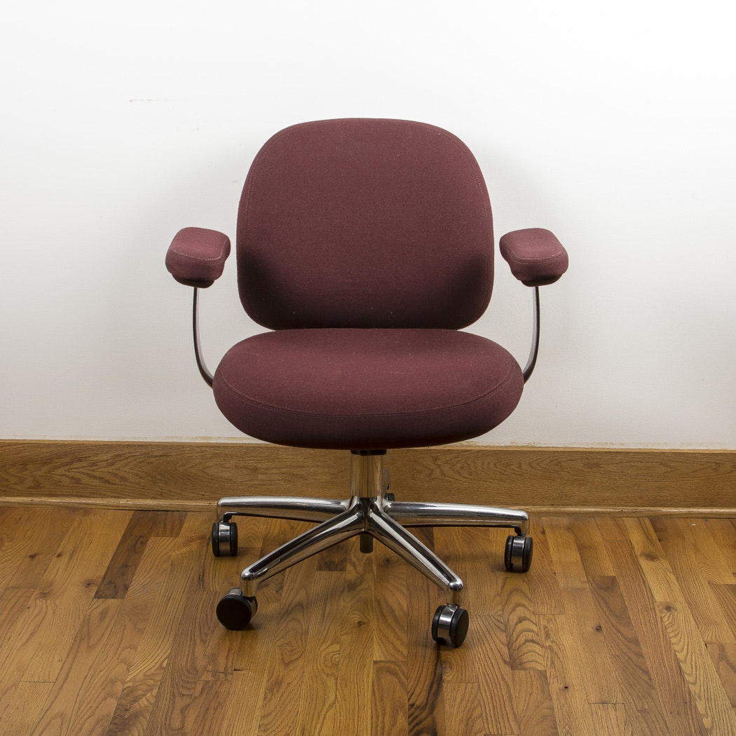 Metal Desk Chair with Burgundy Upholstery