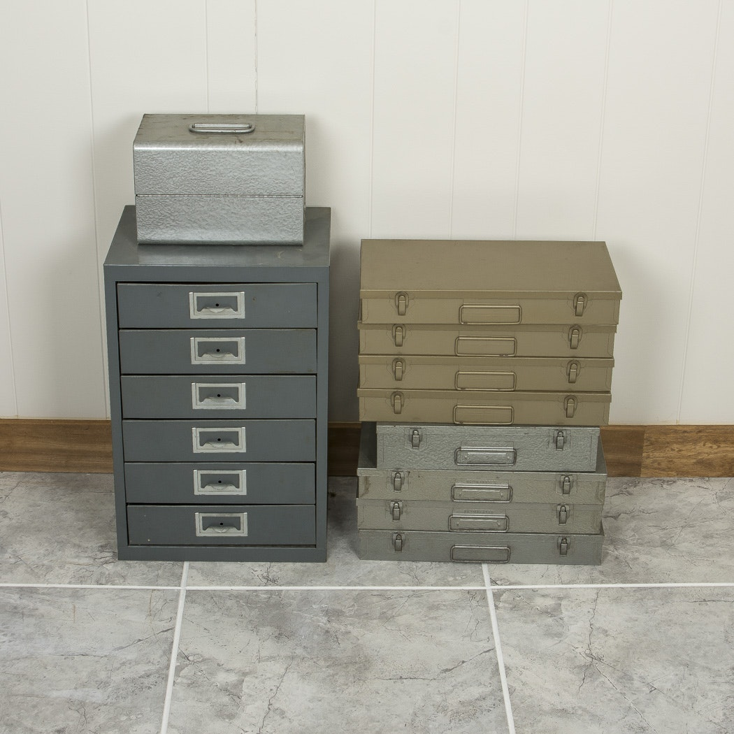 Group of Vintage Metal Slide File Boxes and Organizers including Brumberger