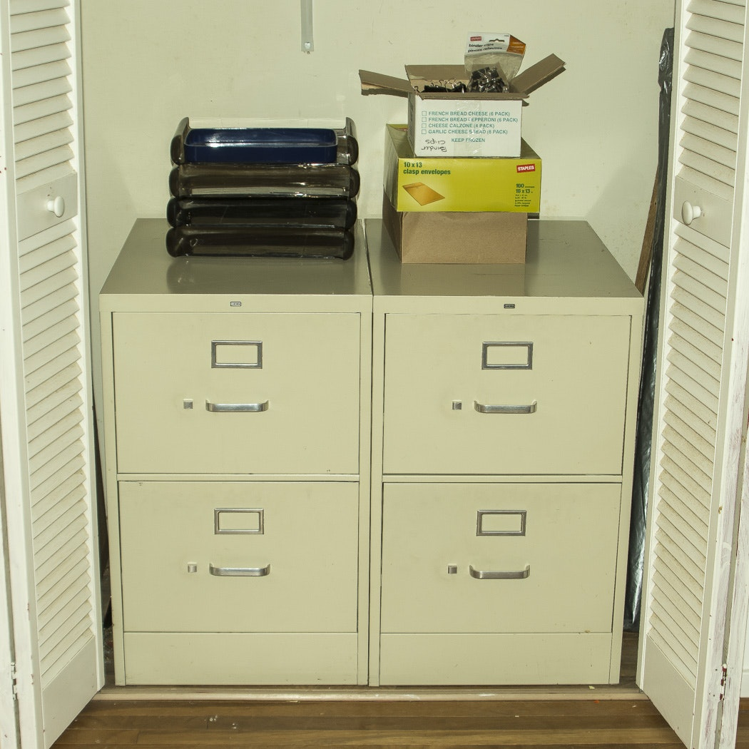 Filing Cabinets and Assortment of Office Supplies
