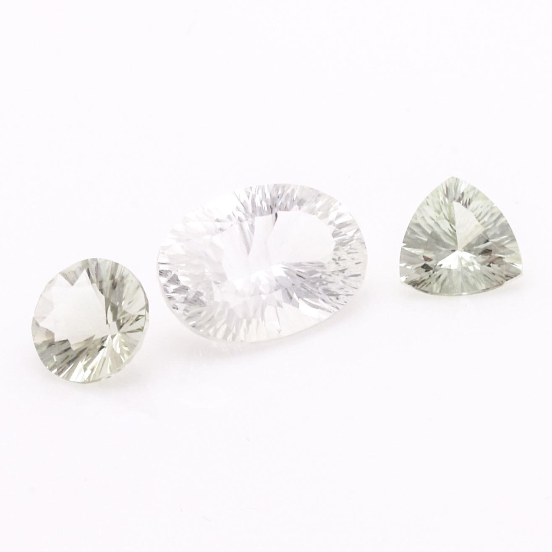 Loose Prasiolite and White Sapphire Stones