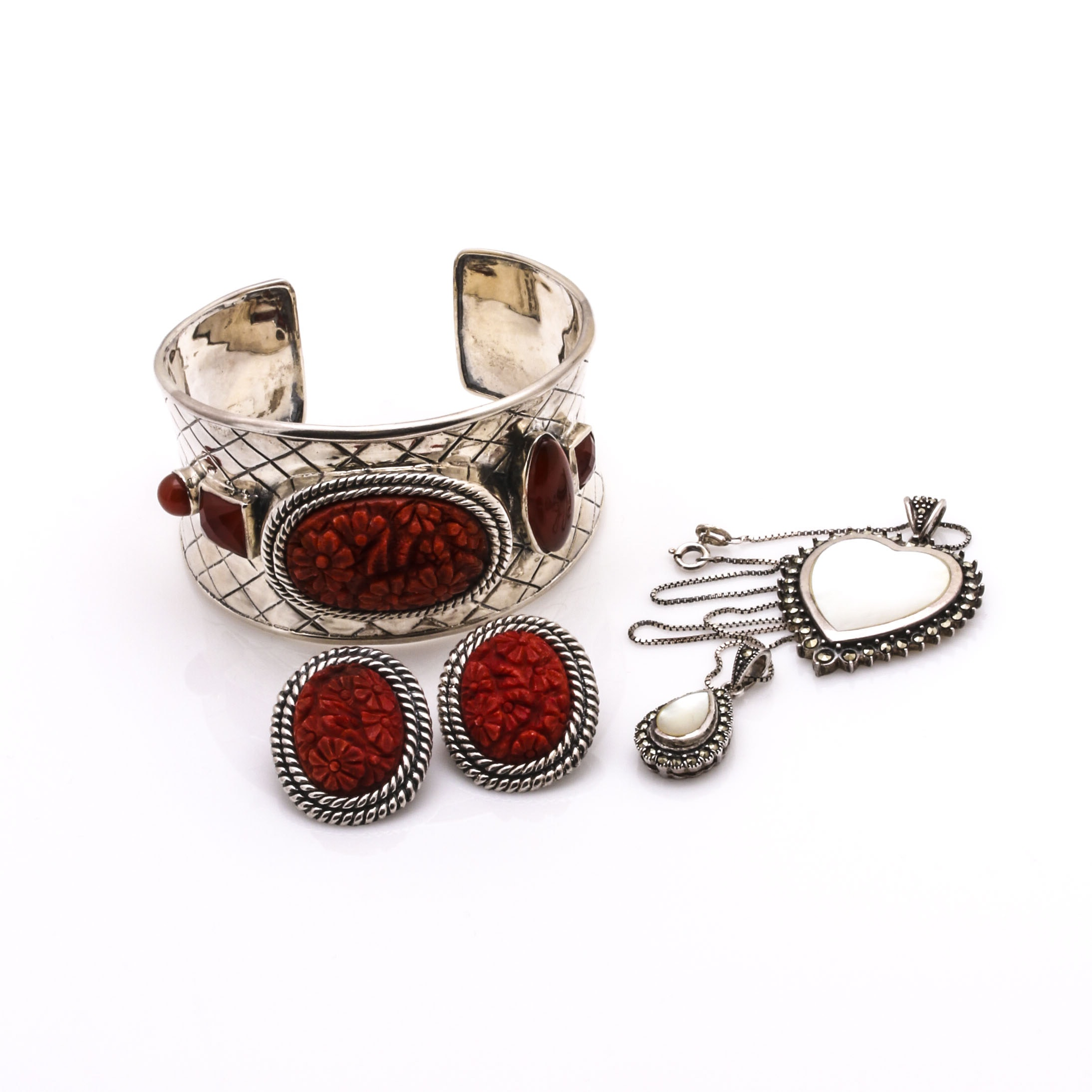 Sterling Silver Mother of Pearl, Marcasite, and Coral Jewelry