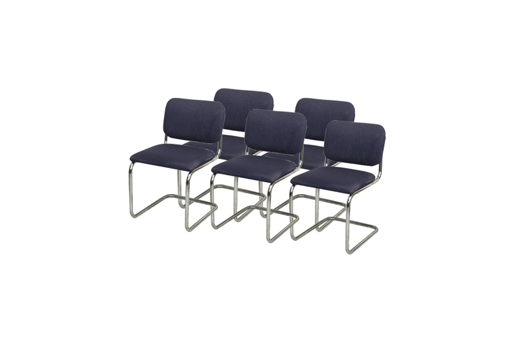 Set of Metal Cantilever Chairs with Navy Blue Upholstery by Knoll