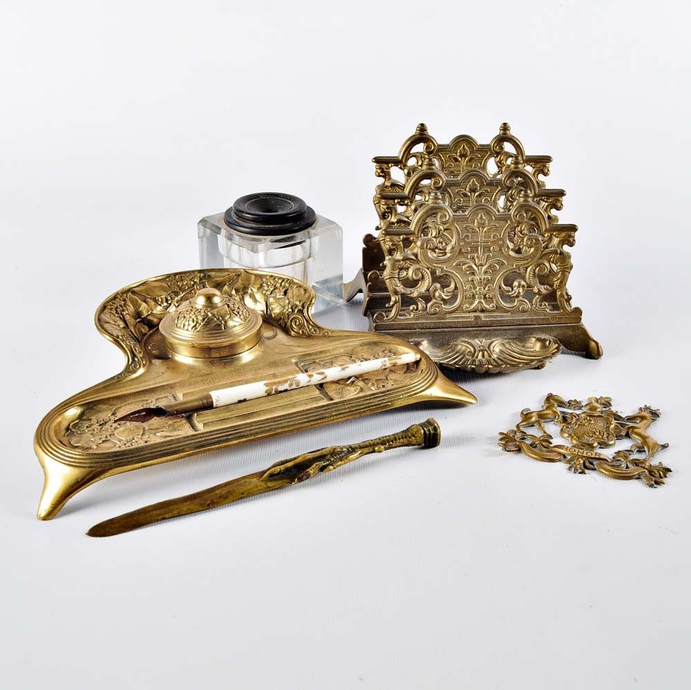 Vintage Brass and Cast Iron Desk Accessory Grouping