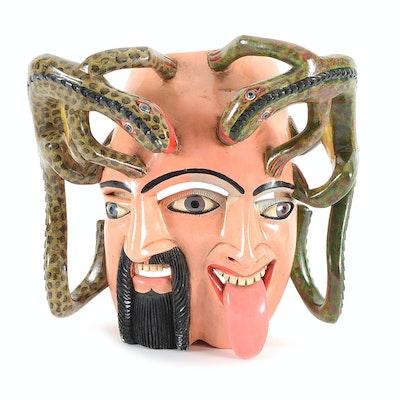 Juan Horta Castillo Hand-Carved Wooden Folk Art Mask