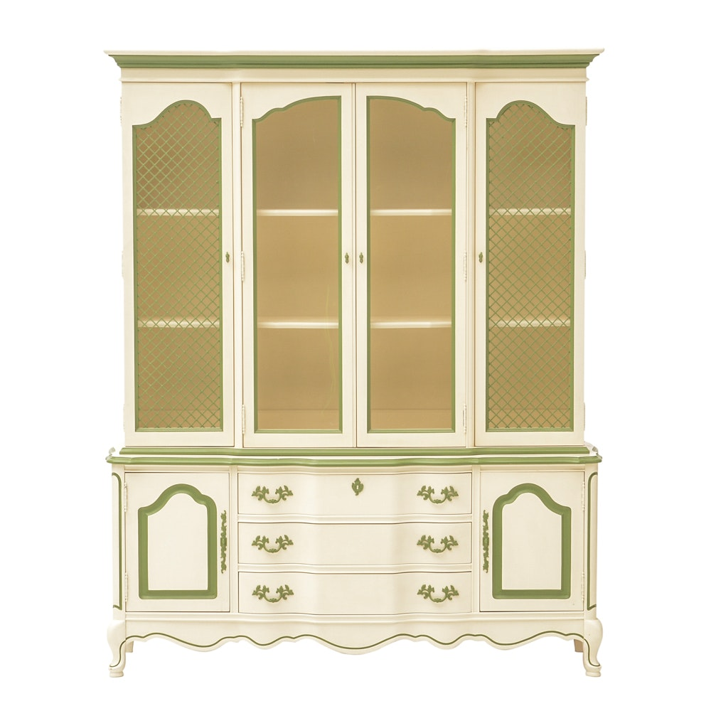 Bassett French Provincial Style Painted China Cabinet