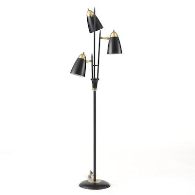 Triple Bullet Three Stemmed 1950's Pole Lamp